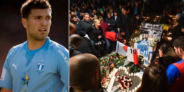 Labinot Harbuzi och en minnesstund för Malmö FF-spelaren.  TT.