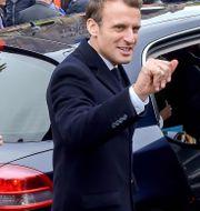 Macron efter att han röstade i dag. PHILIPPE HUGUEN / AFP