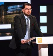Jimmie Åkesson under förra veckans partiledardebatt i SVT:s Agenda. Fredrik Sandberg/TT / TT NYHETSBYRÅN