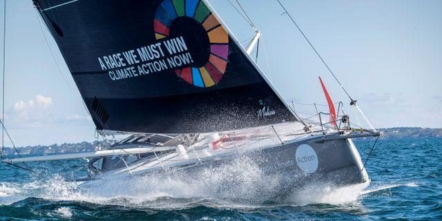 Tävlingsbåten Maliza II som ska ta  Greta Thunberg från Storbritannien till New York i september. HANDOUT / TT NYHETSBYRÅN