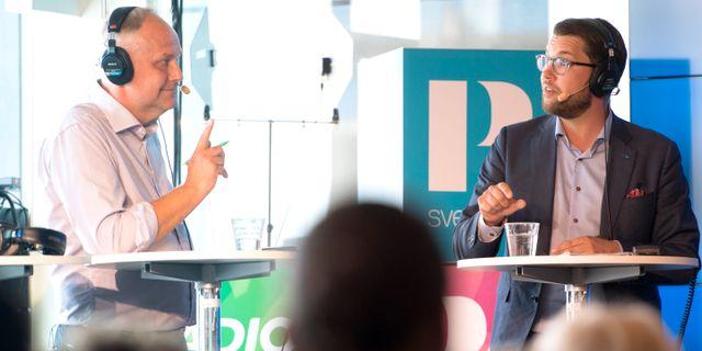 Jonas Sjöstedt (V) och Jimmie Åkesson (SD) debatterar inför valet. Henrik Montgomery/TT / TT NYHETSBYRÅN
