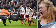 West Ham-supportrar stormar planen och konfronteras av spelarna. TT
