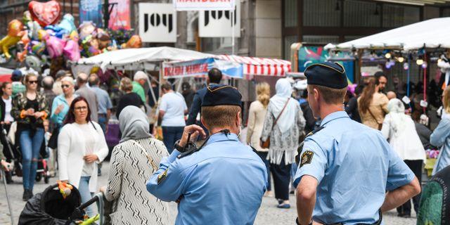 Polis patrullerar under Malmöfestivalen 2017 Johan Nilsson/TT / TT NYHETSBYRÅN
