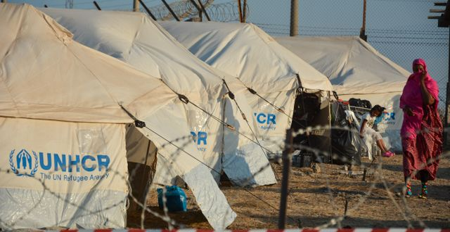 Grekiskt flyktingläger. Illustrationsbild Panagiotis Balaskas / TT NYHETSBYRÅN