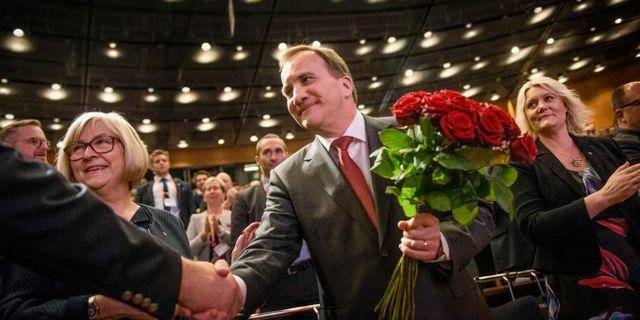 Stefan Löfven på Socialdemokraternas partikongress i Örebro under lördagen. Filip Erlind/TT / TT NYHETSBYRÅN