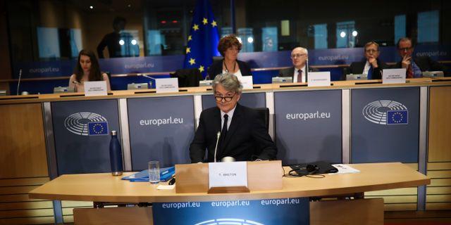 Thierry Breton under ett framträdande inför EU-parlamentets industriutskott. Francisco Seco / TT NYHETSBYRÅN
