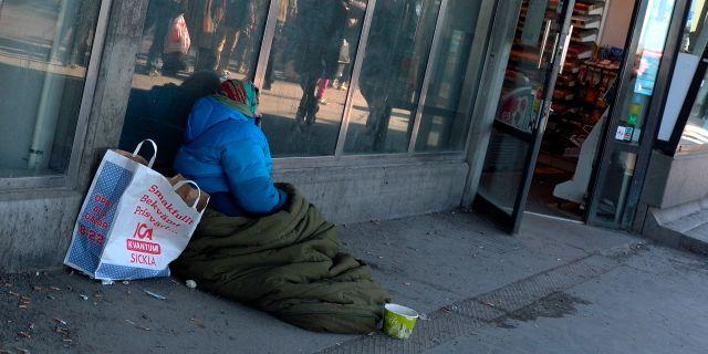 Få platser på härbärgen för EU-migranter i Göteborg.  Hasse Holmberg / TT / TT NYHETSBYRÅN