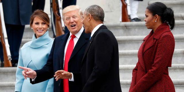 Paret Trump och paret Obama när Trump svors in som president, januari 2017. Alex Brandon / TT NYHETSBYRÅN/ NTB Scanpix
