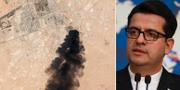 Satellitbilder visar svart rök stiga mot himlen efter gårdagens drönarattacker i Saudiarabien/Abbas Mousavi. TT