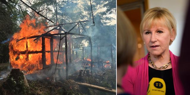 Gawdu Zara i Burma brändes efter att människor från minoritetsgruppen flytt byn i början av september. Utrikesminister Margot Wallström. TT