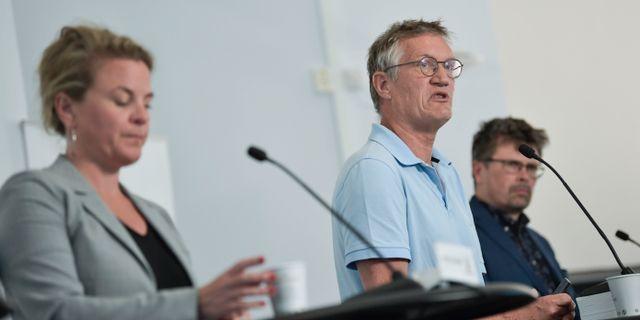 Anders Tegnell på presskonferensen.  Pontus Lundahl/TT / TT NYHETSBYRÅN