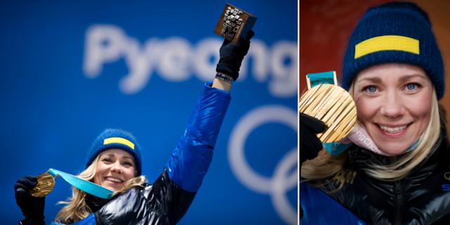 Frida Hansdotter firar sitt OS-guld våren 2018. TT