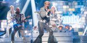 """Dansbandet Rolandz med Robert Gustavssons alter ego Roland Järverup framför """"Fuldans"""" under dagens genrep inför Melodifestivalens fjärde deltävling i Örnsköldsvik. Fredrik Sandberg/TT / TT NYHETSBYRÅN"""
