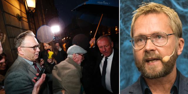 Göran Malmqvist och Horace Engdahl efter ett torsdagsmöte / Björn Wiman TT