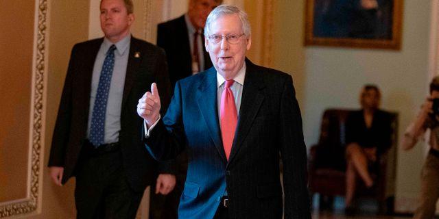 Senatens majoritetsledare Mitch McConnell efter torsdagens omröstning.  ALEX EDELMAN / TT NYHETSBYRÅN