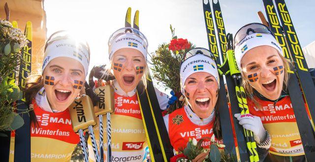 Ebba Andersson, Frida Karlsson, Charlotte Kalla och Stina Nilsson. JOEL MARKLUND / BILDBYRÅN