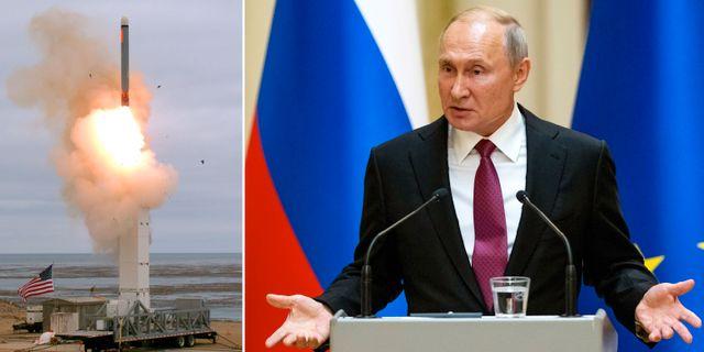 USA:s test av en kryssningsrobot i måndags/Putin i Helsingfors idag. TT