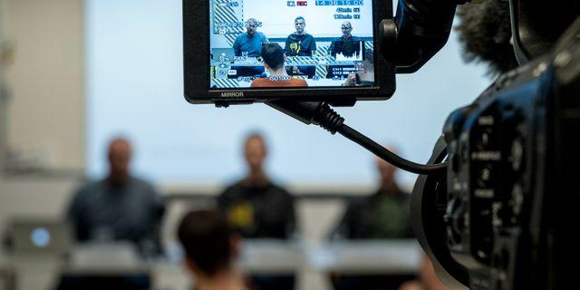 Hamnarbetarförbundet höll presskonferens om hur man ställer sig till fackligt samarbete med LO-förbundet Transport 2018. Björn Larsson Rosvall/TT / TT NYHETSBYRÅN
