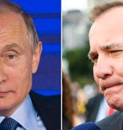 Vladimir Putin och Stefan Löfven. TT
