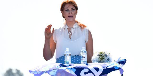 Louise Erixon (SD) talade under Sverigedemokraternas sommarfestival. Johan Nilsson/TT / TT NYHETSBYRÅN