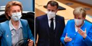 Ursula von der Leyen, Emmanuel Macron och Angela Merkel.  TT.