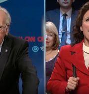 Larry David som Bernie Sanders och Julia Louis-Dreyfus som Elaine Benes. NBC