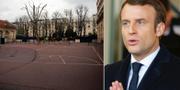 Tomt på fransk skola/Emmanuel Macron. TT