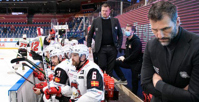 Deppigt hos Malmö efter slutsignal under onsdagens ishockeymatch. Tommy Pedersen/TT / TT NYHETSBYRÅN