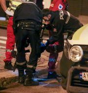 Bild från polisinsatsen i Sarpsborg. Nyhetstips.no / TT NYHETSBYRÅN