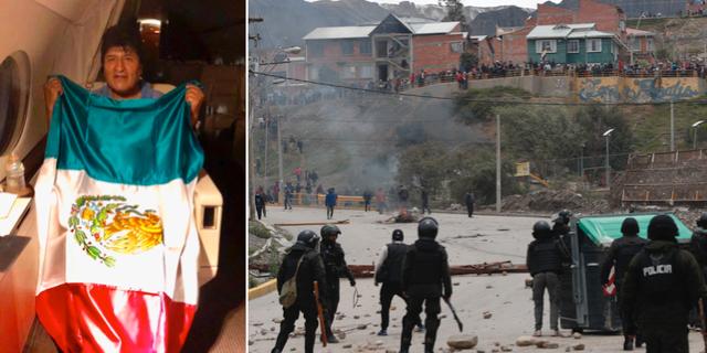 Evo Morales på flygplanet på väg mot Mexiko. Bilden har släppts av Mexikos utrikesminister. Till höger sammandrabbningar i Bolivia. TT