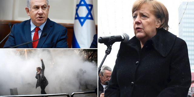 Benjamin Netanyahu/demonstration i Iran/Angela Merkel. TT