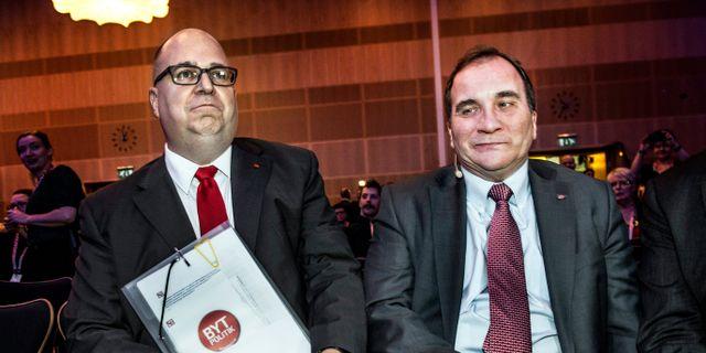 Karl-Petter Thorwaldsson och Stefan Löfven. Tomas Oneborg / SvD / TT / TT NYHETSBYRÅN