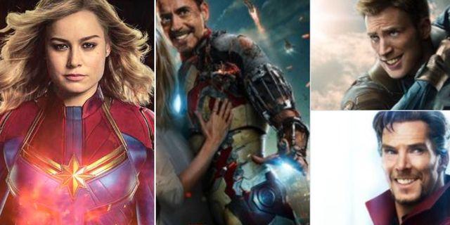 Brie Larsson i trailern till Captain Marvel. Retuscherade bilder av andra superhjältar.