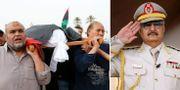 Begravning för en regeringstrogen soldat i Libyen idag/Khalifa Haftar. TT