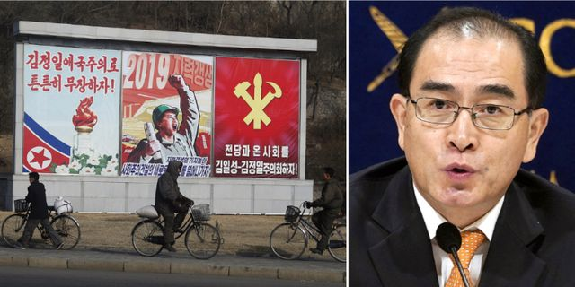 Gatubild i Nordkorea och Thae Yong-Ho. TT.