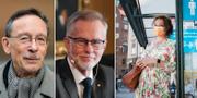 Lars Calmfors och Göran K Hansson samt en kvinna med munskydd i en busskur.  TT