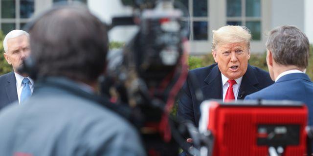 Trump intervjuas i Fox News. JONATHAN ERNST / TT NYHETSBYRÅN
