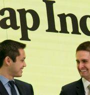 Snapchats medgrundare Bobby Murphy och vd:n Evan Spiegel. Richard Drew / TT NYHETSBYRÅN