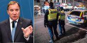 Stefan Löfven/poliser i Malmö efter mordet på 15-årige Jaffar. TT