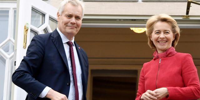 Finland statsminister Antti Rinne och EU-kommissionens tillträdande ordförande Ursula von der Leyen. LEHTIKUVA / TT NYHETSBYRÅN