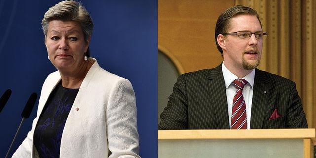 Arbetsmarknadsminister Ylva Johansson och Günther Mårder, vd på Företagarna. Foto: Montage, TT