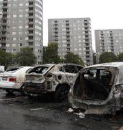 De utbrunna bilarna i Frölunda. Adam Ihse/TT / TT NYHETSBYRÅN