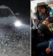 Illustrationsbilder: Bil i snö/barnfamilj i bil. TT