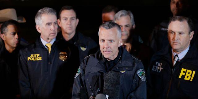 Polisen under presskonferensen.  Eric Gay / TT NYHETSBYRÅN