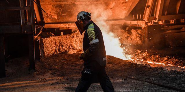 Arbete inne i Masugn 4 på SSAB i Oxelösund. Anders Wiklund/TT / TT NYHETSBYRÅN
