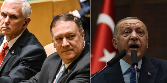 USA:s vicepresident Mike Pence och utrikesministern Mike Pompeo /  Turkiets president Recep Tayyip Erdogan. TT