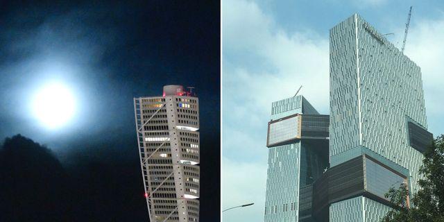 Turning Torso i Malmö, Tencent Seafront Towers i Shenzhen, Kina.  TT