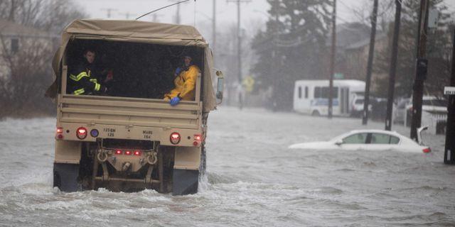 Översvämmade gator i Quincy, Massachusettss. Scott Eisen / GETTY IMAGES NORTH AMERICA