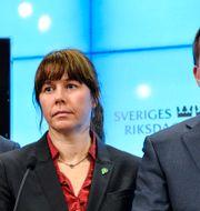 MP-språkrören Gustav Fridolin och Åsa Romson, statsminister Stefan Löfven (S). Henrik Montgomery / TT / TT NYHETSBYRÅN