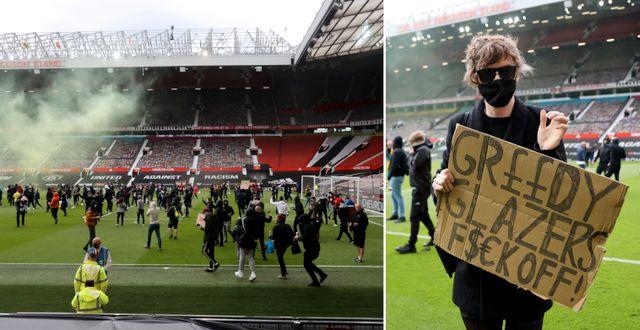Unitedsupportrar stormar Old Trafford. Bildbyrån
